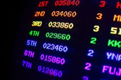 Score overview detail on an old vintage video arcade game with colorful results. From first to seventh player, each colored with different color Royalty Free Stock Image