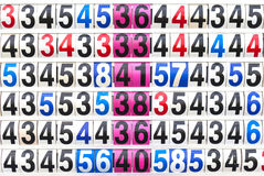 Score result on the multicolor mechanical scoreboard number. Royalty Free Stock Photos