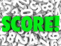 Score Word Numbers Background Final Tally Evaluation Grade Ratin. Score word on a background of 3d numbers to illustrate your rank, rating, grade or evaluation Stock Images