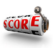 Score Word Slot Machine DIals Total Winning Amount Royalty Free Stock Photo