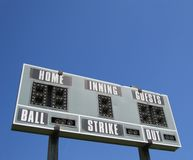 Scoreboard. Isolated shot of a scoreboard against blue sky Royalty Free Stock Photo