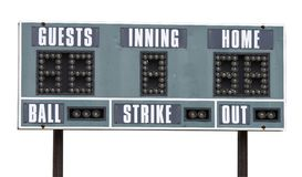 Scoreboard. A picture of a baseball scoreboard on a white background Stock Photography