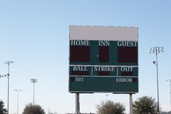 Scoreboard with ad space. Baseball scoreboard with ad/logo space prepared Royalty Free Stock Photography