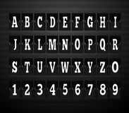 Scoreboard Alphabet and Set of Figures. Letter and alphabet letters, font and numbers, abc typography, board and figure, number panel, information typeset Royalty Free Stock Photos
