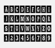 Scoreboard Alphabet and Set of Figures. Letter and alphabet letters, font and numbers, abc typography, board and figure, number panel, information typeset Stock Photos