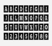 Scoreboard Alphabet and Set of Figures Stock Photos