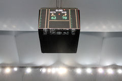 The scoreboard of the arena shows the final score of ASEAN Basketball League. BANGKOK - MAY 28:The scoreboard of the arena shows the final score of ASEAN Stock Photo