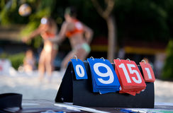 Scoreboard on beach volleyball match Stock Images