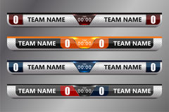 Scoreboard Broadcast Graphic. And Lower Thirds Template for soccer and football, vector illustration Stock Photos