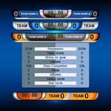 Scoreboard sport template for football and soccer. Scoreboard Broadcast Graphic and Lower Thirds Template for soccer and football, vector illustration Royalty Free Stock Images