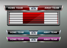 Scoreboard Broadcast Graphic. And Lower Thirds Template for soccer and football, vector illustration Royalty Free Stock Photography