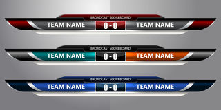 Scoreboard Broadcast Soccer. Scoreboard Broadcast Graphic for soccer and football, vector illustration Royalty Free Stock Photo
