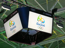 Scoreboard at Carioca Arena 3 with Rio 2016 Olympic Games logo Royalty Free Stock Images