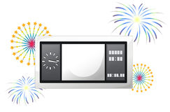 A scoreboard with fireworks. Illustration of a scoreboard with fireworks on a white background Royalty Free Stock Photo
