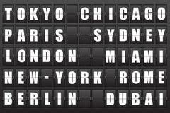 Scoreboard. Flight destination, information display board named world cities. Illustration Stock Images