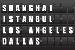 Scoreboard. Flight destination, information display board named world cities Shanghai, Istanbul, Los Angeles, Dallas. Scoreboard airport. Illustration Stock Image