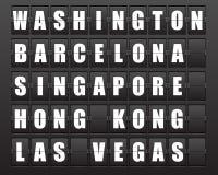 Scoreboard. Flight destination, information display board named world cities Washington, Barcelona, Singapore, Hong Kong, Las Vegas. Scoreboard airport Royalty Free Stock Photos