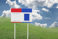 Scoreboard on green and blue sky Royalty Free Stock Photography