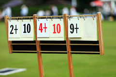 Scoreboard at a lawn bowls match Stock Images