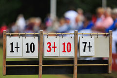 Scoreboard at lawn bowls Stock Photos
