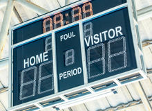 Scoreboard with LED display digital font on a black background. Royalty Free Stock Image
