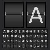 Scoreboard Letters and Numbers Alphabet. Vector Scoreboard Letters and Numbers Alphabet mechanical panel Stock Photos