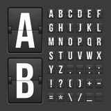 Scoreboard letters and symbols alphabet panel. Vector scoreboard letters and symbols alphabet mechanical panel Stock Photography