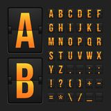 Scoreboard letters and symbols alphabet panel Stock Images