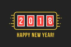 2018 scoreboard like happy new year. Concept of coming soon changing numbers on countdown or digit flip analog clock. flat retro style gold logotype graphic royalty free illustration