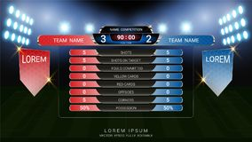 Scoreboard and Lower thirds template, Sport soccer and football match team A vs team B Royalty Free Stock Photos