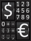 Scoreboard Mechanical Panel Numbers and Currency Characters. Stock Image