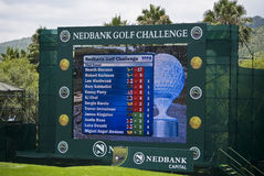 Scoreboard - Million Dollar Golf. Scores at the start of the day, on the final day. 18th hole. Sun City Gary Player Golf Course. Nedbank Million Dollar Stock Photo