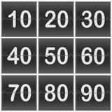 Scoreboard Numbers. Scoreboard flipper Numbers ten twenty thirty forty Fifty sixty seventy eighty ninety Royalty Free Stock Photos