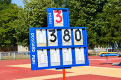 Scoreboard of the pole vault Royalty Free Stock Photos