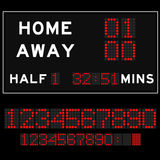 Scoreboard with redLED digital font Royalty Free Stock Images