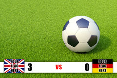 Scoreboard and soccer ball on grass field Royalty Free Stock Image