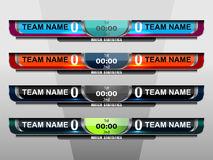 Scoreboard Sport Elements. Scoreboard Broadcast Graphics for football and soccer, vector illustration Royalty Free Stock Image