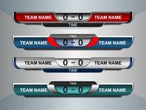 Scoreboard sport template for football and soccer. Scoreboard Broadcast Graphic and Lower Thirds Template for soccer and football, vector illustration Stock Photo