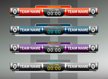 Scoreboard sport template. For football and soccer,  illustration Stock Image