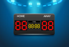 Scoreboard with time and result display and spotlight Royalty Free Stock Image