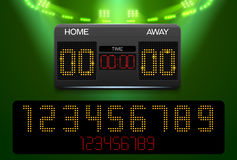 Scoreboard with time and result display and spotlight Stock Photo