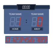 Scoreboard vector score board digital display football soccer sport team match competition on stadium illustration set. Of score-board championship information stock illustration