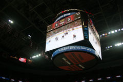 Scoreboard - Verizon Center. Washington, DC: October 30, 2009. The Washington Capitals played against the New York Islanders. The game ended 53 seconds into Royalty Free Stock Photos