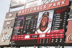 Scoreboard at the Washington Nationals Ball Park. Scoreboard at the Nationals Ball Park at the Washington Nationals Stadium. Scoreboard shows the members of the Royalty Free Stock Photo