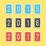 Scoreboard year numbers isolated on yellow. Background. concept of number counter template for 2015-2017 countdown. flat style modern trendy design vector Stock Photos