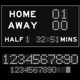 Scorebord met witte LEIDENE digitale doopvont Stock Foto