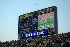 Scorebord - Michigan versus het spel van de Staat van Michigan Stock Afbeelding