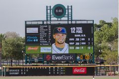 Scorebord van het de Garnalenhonkbal van Jacksonville het Jumbo Stock Afbeeldingen