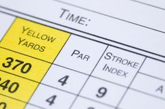 Scorecard. A golf scorecard in extreme closeup Stock Photography