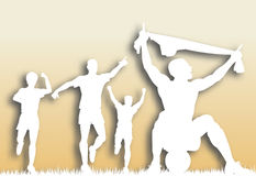 Scored cutout. Editable  cutout of a soccer player celebrating a goal plus team-mates with background made using a gradient mesh Royalty Free Stock Photography